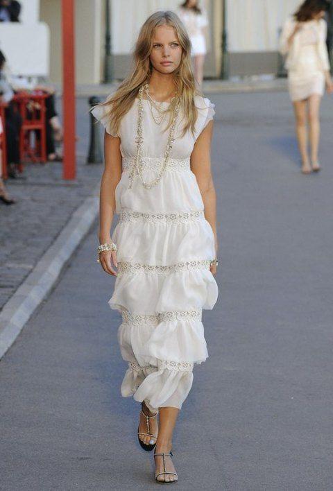 Clothing, Footwear, Shoulder, Human leg, Textile, Joint, Dress, White, Fashion show, Style,