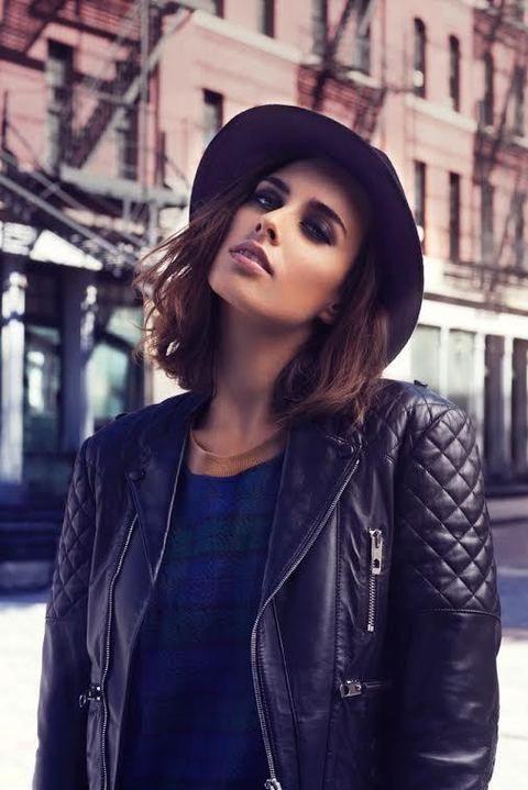 Clothing, Jacket, Lip, Textile, Coat, Outerwear, Style, Street fashion, Leather, Beauty,