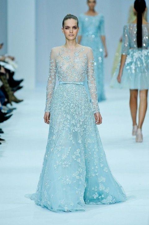 Clothing, Blue, Shoulder, Dress, Fashion show, Joint, Waist, Formal wear, Fashion model, Style,