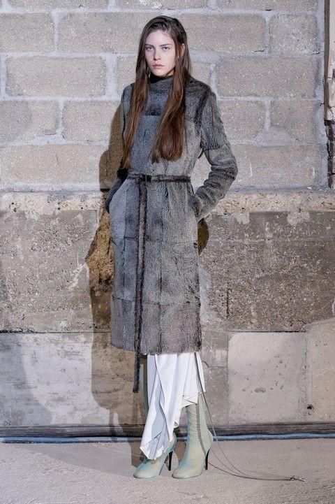 Sleeve, Style, Street fashion, Grey, Beige, Fur, Overcoat, Costume, Fashion model, Boot,