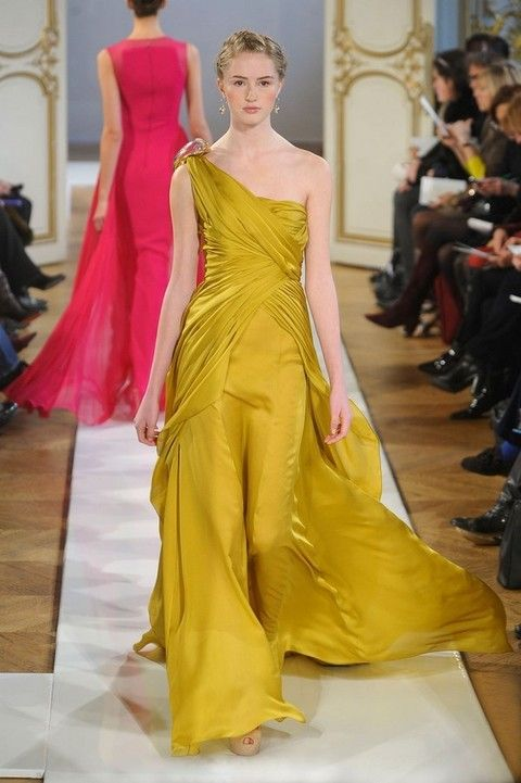 Clothing, Yellow, Human body, Shoulder, Dress, Red, Formal wear, Style, Fashion model, Gown,