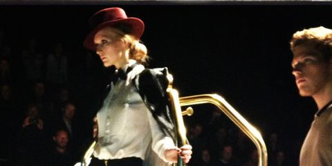 Hat, Sun hat, Fashion, Acting, Stage, Fedora, Drama, Costume design, Fashion design, Belt,