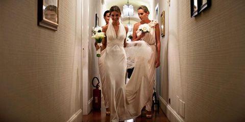 Dress, Bridal clothing, Floor, Flooring, Gown, Bride, Wedding dress, Formal wear, One-piece garment, Bridal party dress,