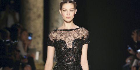 Hairstyle, Dress, Shoulder, Fashion show, Fashion model, Style, Runway, Waist, Fashion, Beauty,