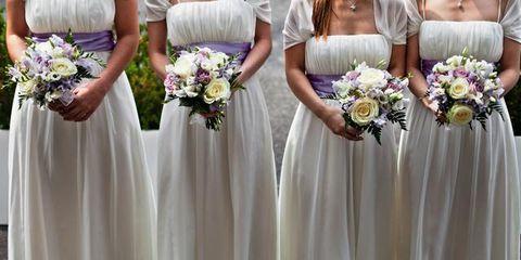 Clothing, Blue, Petal, Bouquet, Dress, Trousers, Flower, Shoulder, Textile, Purple,