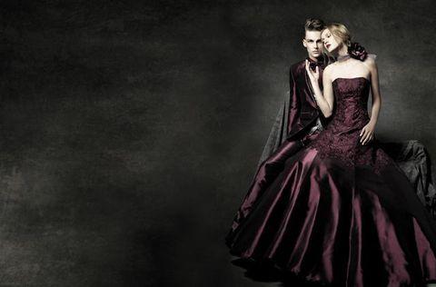 Clothing, Dress, Formal wear, Gown, One-piece garment, Darkness, Victorian fashion, Embellishment, Day dress, Fashion model,