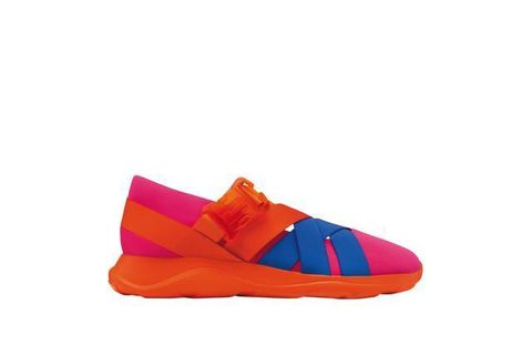 Shoe, Carmine, Orange, Tan, Electric blue, Outdoor shoe, Walking shoe,