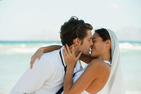 Forehead, Photograph, Happy, People in nature, Summer, Romance, Love, Bride, Interaction, Elbow,