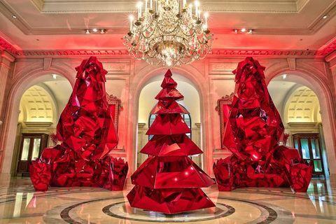 Interior design, Room, Red, Ceiling, Interior design, Hall, Light fixture, Carmine, Chandelier, Molding,