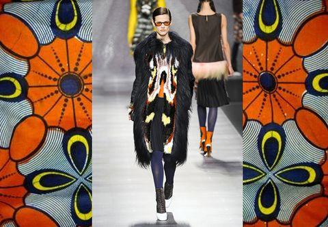 Orange, Pattern, Fashion, Street fashion, Art, Costume design, Costume accessory, Visual arts, Fur, Design,