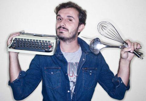 Typewriter, Kitchen utensil, Facial hair, Office equipment, Jacket, Cutlery, Beard, Tableware, Technology, Spoon,
