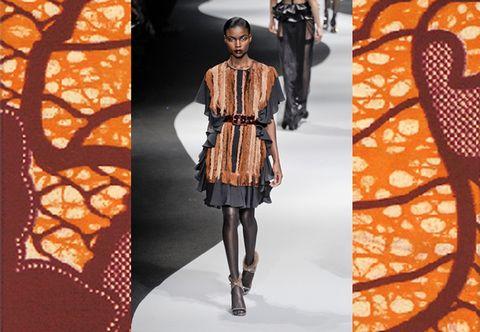 Clothing, Leg, Brown, Sleeve, Orange, Textile, Style, Amber, Pattern, Fashion model,