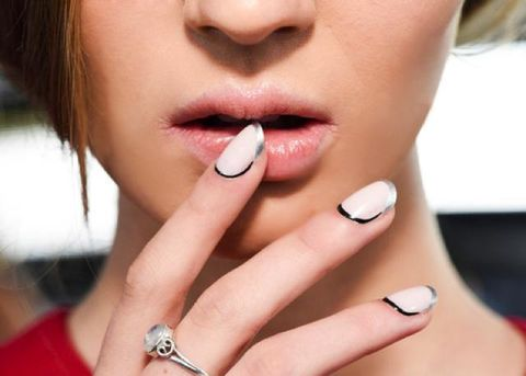 Finger, Cheek, Skin, Nail, Eyelash, Manicure, Fashion accessory, Nail care, Jewellery, Organ,