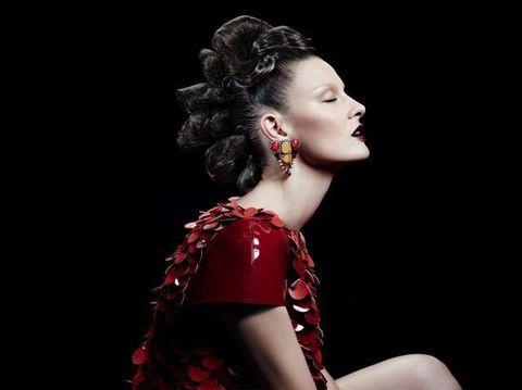 Lip, Hairstyle, Style, Eyelash, Earrings, Beauty, Fashion model, Model, Day dress, Flash photography,