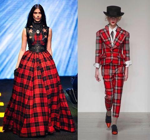 Plaid, Pattern, Sleeve, Tartan, Red, Textile, Hat, Dress, Formal wear, Style,