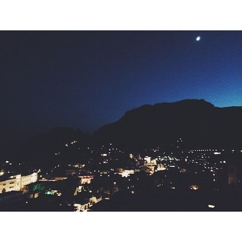Night, Hill, Town, City, Urban area, Residential area, Slope, Darkness, Astronomical object, Hill station,