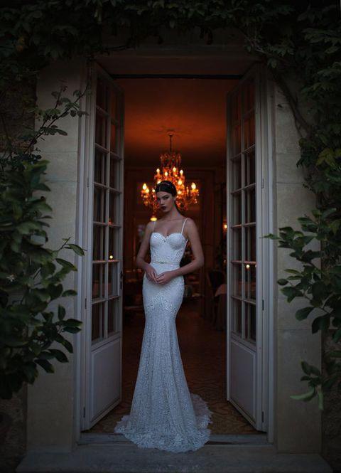 Clothing, Dress, Shoulder, Bridal clothing, Formal wear, Wedding dress, Gown, Door, Bride, One-piece garment,