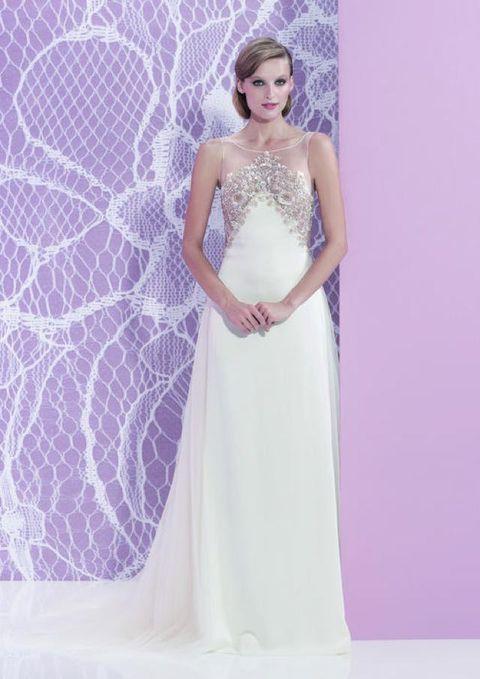 Clothing, Shoulder, Dress, Textile, Purple, Bridal clothing, Formal wear, Wedding dress, Bridal accessory, Gown,