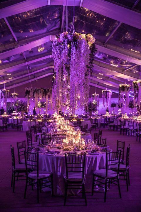 Tablecloth, Decoration, Furniture, Purple, Interior design, Function hall, Chair, Violet, Ceiling, Interior design,