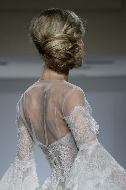 Clothing, Hairstyle, Shoulder, Dress, Joint, Bridal accessory, Gown, Embellishment, Back, Lace,