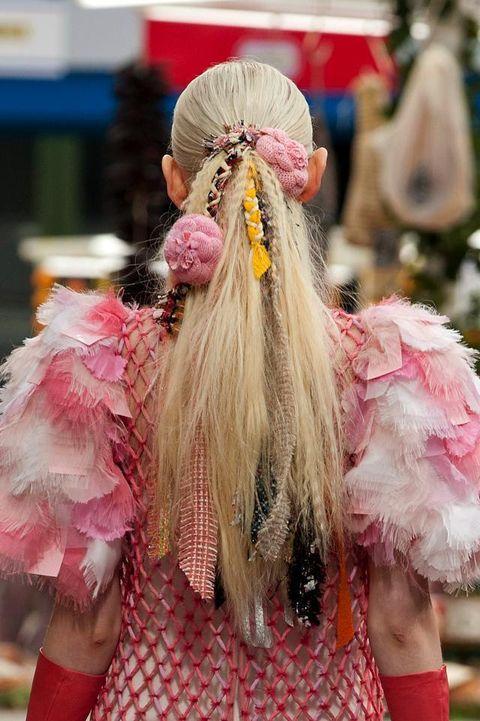 Hairstyle, Pink, Magenta, Headgear, Costume accessory, Fashion, Costume, Long hair, Hair accessory, Wig,