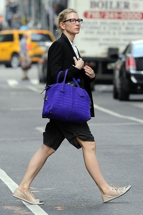 Clothing, Road, Human leg, Bag, Outerwear, Street, Asphalt, Street fashion, Style, Fashion accessory,