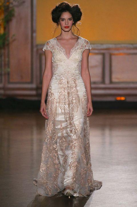 Clothing, Dress, Shoulder, Textile, Floor, Fashion model, Formal wear, One-piece garment, Gown, Fashion,