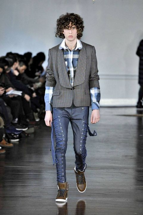 Clothing, Footwear, Product, Trousers, Fashion show, Textile, Joint, Outerwear, Collar, Denim,