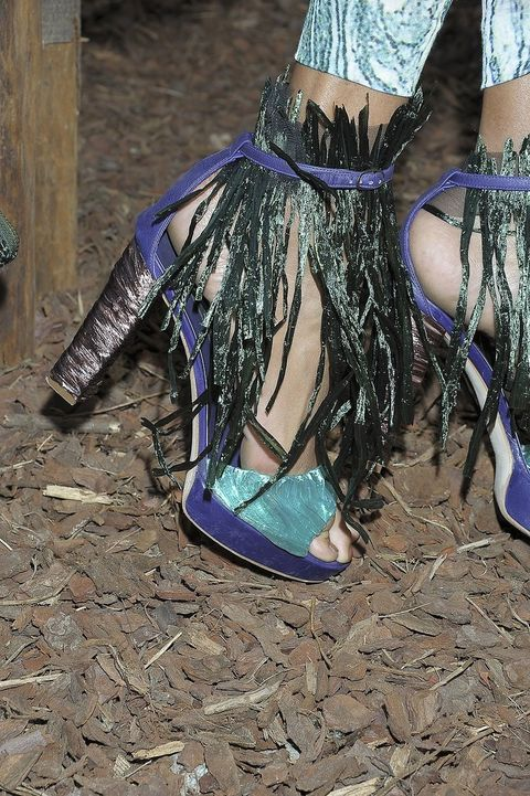 Blue, Costume accessory, Electric blue, Purple, Teal, Natural material, Fashion design, Boot, Foot, Embellishment,