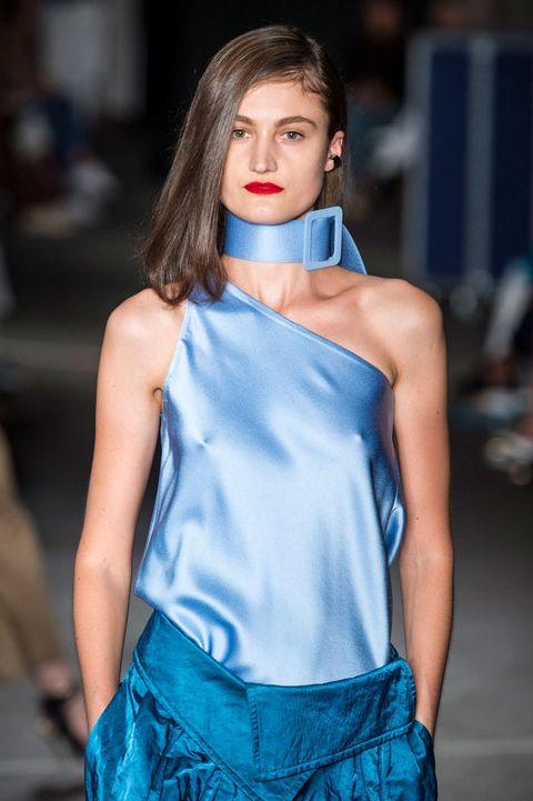 Blue, Style, Earrings, Electric blue, Fashion show, Fashion model, Eyelash, Street fashion, Fashion, Dress,