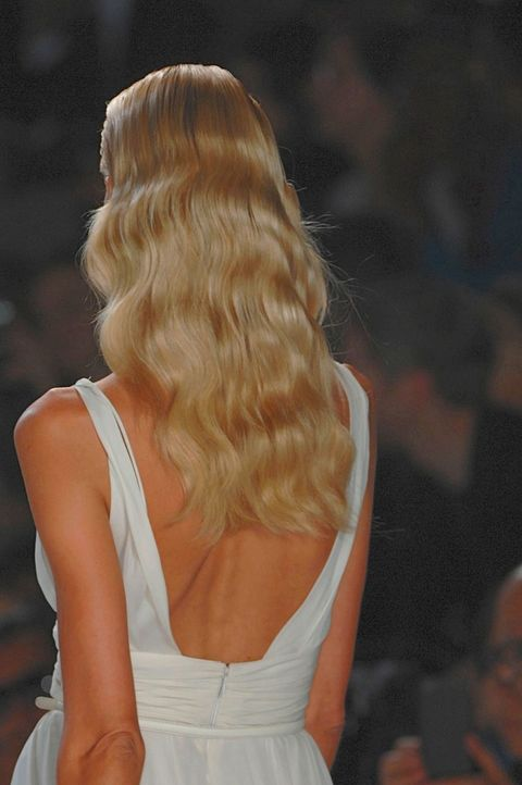 Hairstyle, Shoulder, Back, Long hair, Fashion, Blond, Brown hair, Day dress, Hair coloring, Fashion model,