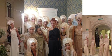People, Social group, Temple, Tradition, Ceremony, Gown, Veil, Houseplant, Embellishment, Bridal clothing,
