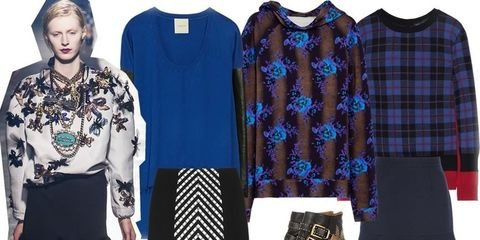 Clothing, Blue, Sleeve, Pattern, Textile, Collar, Style, Bag, Fashion, Electric blue,