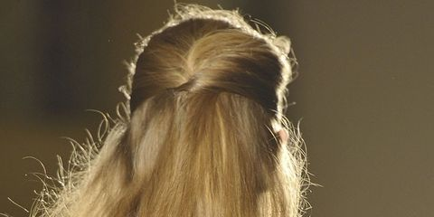 Yellow, Hairstyle, Sleeve, Textile, Style, Street fashion, Long hair, Fashion, Back, Blond,