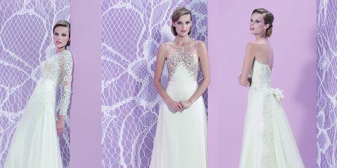 Clothing, Dress, Shoulder, Purple, Photograph, Lavender, Wedding dress, Formal wear, Gown, Bridal clothing,