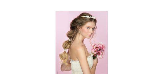 Clothing, Hairstyle, Skin, Petal, Shoulder, Dress, Photograph, Pink, Purple, Wedding dress,
