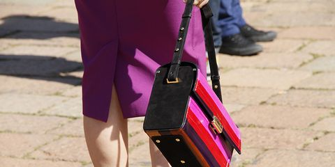 Purple, Bag, Magenta, Street fashion, Fashion, Maroon, Strap, Material property, Waist, Shadow,
