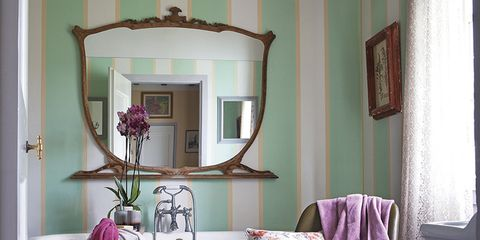 Room, Interior design, Textile, Purple, Interior design, Mirror, Lavender, Violet, Linens, Picture frame,
