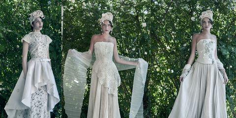 Clothing, Dress, Textile, Gown, Formal wear, Style, Wedding dress, Bridal clothing, Embellishment, Fashion,