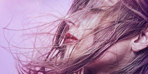 Hairstyle, Purple, Pink, Violet, Magenta, Organ, Eyelash, Lavender, Brown hair, Close-up,