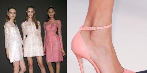 Footwear, High heels, Joint, Pink, Dress, One-piece garment, Sandal, Fashion, Beauty, Tan,