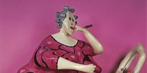 Sculpture, Pink, Magenta, Purple, Violet, Porcelain, Flowerpot, Statue, Ceramic, Creative arts,