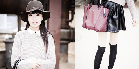 Clothing, Hat, Textile, Joint, Outerwear, White, Bag, Style, Pattern, Street fashion,