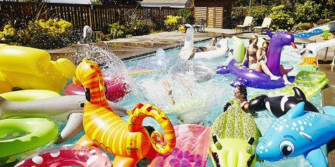 Fun, Purple, Aqua, Majorelle blue, Garden, Inflatable, Water feature, Plate, Fish, Marine mammal,