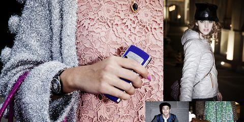 Textile, Purple, Magenta, Street fashion, Pattern, Bag, Violet, Fashion, Mobile phone, Wrist,