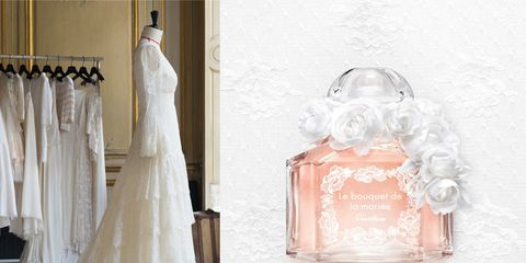 Dress, Peach, Bridal clothing, Gown, Wedding dress, Clothes hanger, Bridal accessory, Curtain, Party supply, One-piece garment,