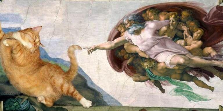 Un gatto fa capolino nei dipinti famosi l\u0027arte sorride!
