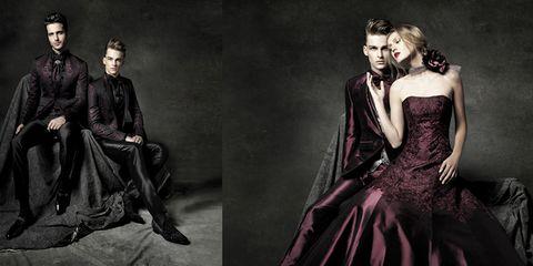 Formal wear, Dress, Costume design, Fashion, Gown, Black hair, Victorian fashion, One-piece garment, Costume, Fashion model,