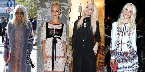 Footwear, Outerwear, Dress, Style, Street fashion, Fashion, One-piece garment, Bag, Blond, Sunglasses,