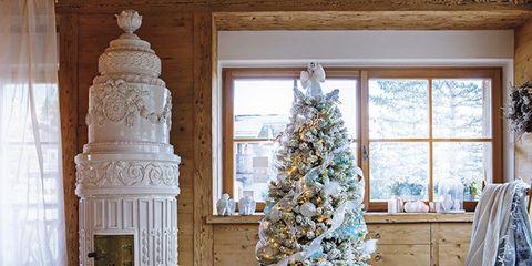 Blue, Room, Wood, Interior design, Home, Interior design, Christmas decoration, Winter, Fixture, Living room,